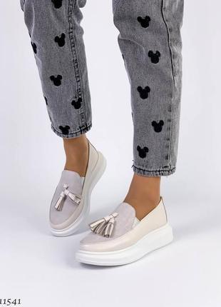 Сливочные туфли мокасины лоферы из натуральной кожи2 фото