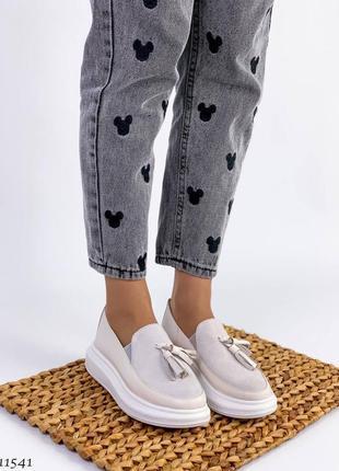 Сливочные туфли мокасины лоферы из натуральной кожи3 фото