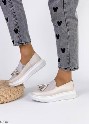 Сливочные туфли мокасины лоферы из натуральной кожи6 фото