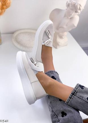 Сливочные туфли мокасины лоферы из натуральной кожи7 фото