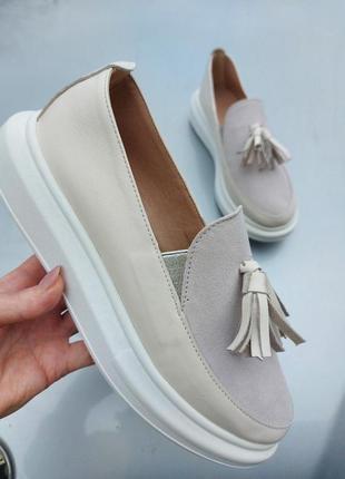 Сливочные туфли мокасины лоферы из натуральной кожи4 фото