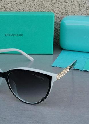 Tiffany and co очки женские солнцезащитные черные с голубым градиент