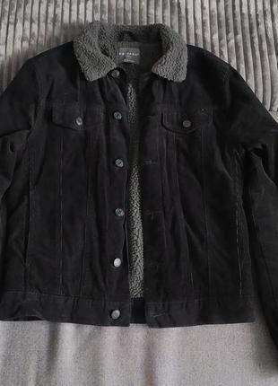 Вельветовая джинсовка | куртка с меховым воротником