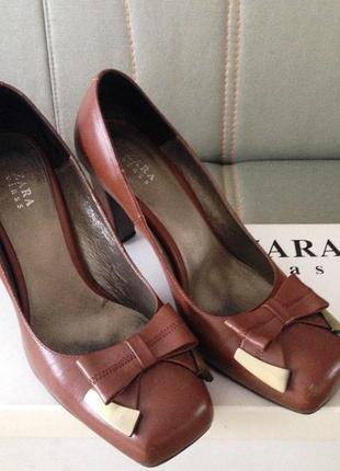 """Модный квадратный носок-изящные комфортные туфли """"zara"""" терракотового цвета"""