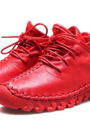 Туфли женские из натуральной кожи, лоферы, на шнуровке