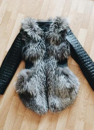 Кожаная курточка с чернобуркой