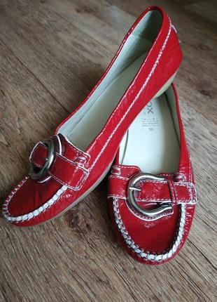Geox respira лаковые туфли, балетки кожаные, брендовые туфли, лак, стелька 25 см