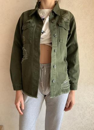 Куртка джинсовая, джинсовую хаки, рубашка джинсовая