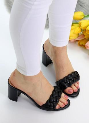 Сабо шлёпанцы босоножки на каблуке плетение