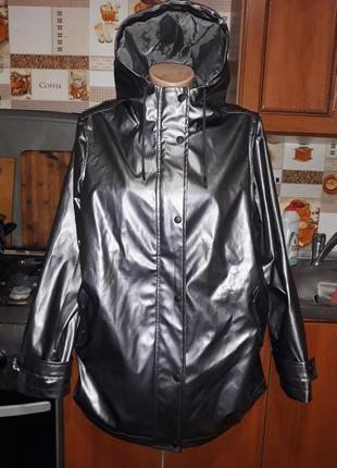 Шикарная куртка парка цвета метал на полкладке tu woman! размер 48.