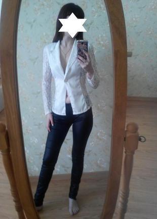 Летный жакет пиджак блуза с кружевом