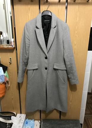 Стильное серое кашемировое пальто stradivarius разм м длинное пальто тренч плащ куртка