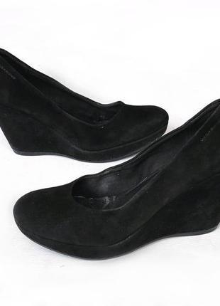 37-38р замша vagabond черные замшевые туфли на танкетке