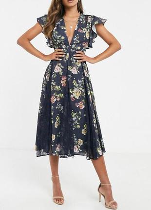 Распродажа! цветочное платье asos миди с кружевными вставками