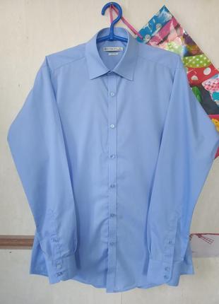 Базовая голубая приталенная рубашка slim fit p.39-40