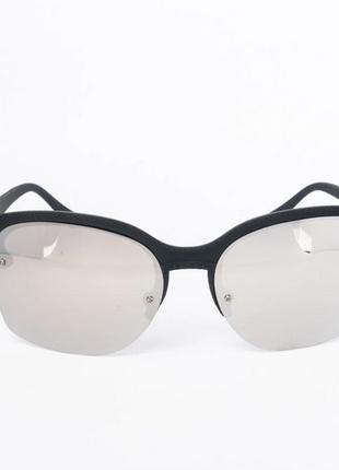 Солнцезащитные очки унисекс черные с зеркальными линзами