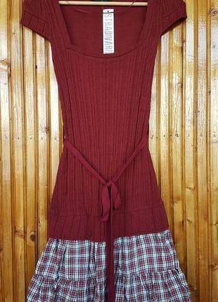 Вязанное платье мини stradivarius с пояском.