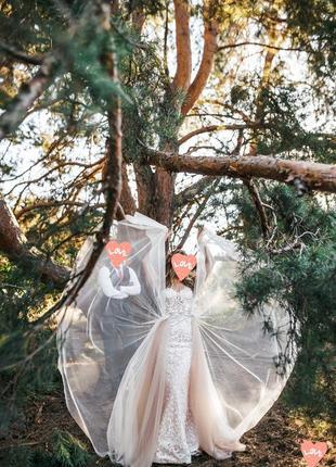 Свадебное платье-трансформер со съемной юбкой (2в1)