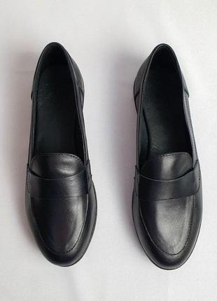 Лоферы балетки туфли чёрные женские натуральная кожа