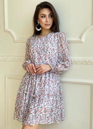 Платье лёгкое цветочный принт с рюшами свободное можно и для беременных