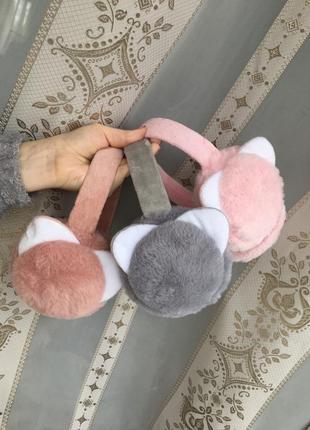 Теплые плюшевые наушники ушки махровые мягкие розовые серые бежевые