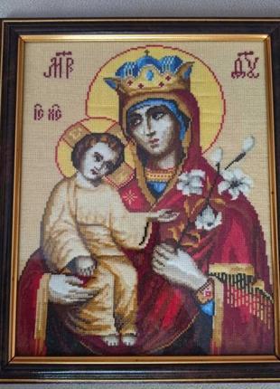 Вышитая крестиком икона пресвятой богородицы неувядаемый цвет