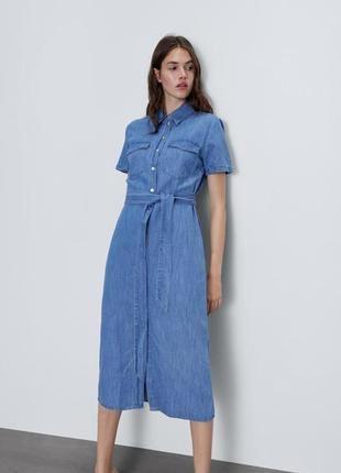 Стильное джинсовое миди платье zara