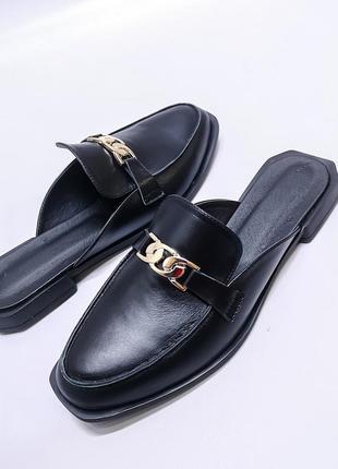 🔥 стильные кожаные шлепанцы мюли с закрытым носком