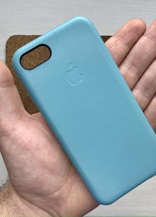 Чехол кожаный голубой на для айфон iphone 7 / 8 оригинальный кейс
