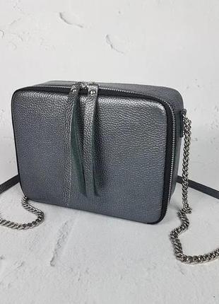 Кожаная сумка женская odri натуральная кожа, серый металлик флотар
