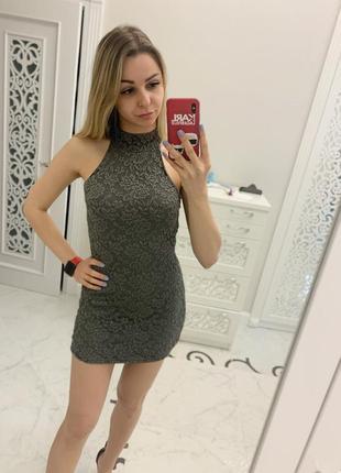 Гипюровое серое платье terranova