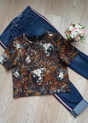 Укороченная плотная футболка со львами, р.s-m