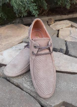 Мужские туфли с перфорацией на шнурках