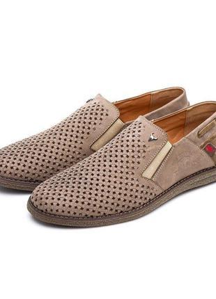 Летние туфли с перфорацией натуральная кожа замша буфало