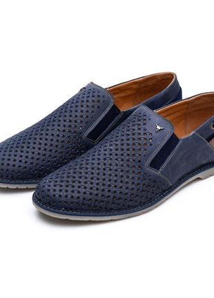 Летние туфли с перфорацией натуральная кожа буфало