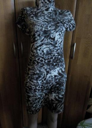 Комплект платье и болеро из теплого мягкого трикотажа анималистический принт