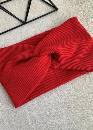 Жіноча пов'язка червона широка, чалма на голову трикотажна в рубчик, чалма красная женская