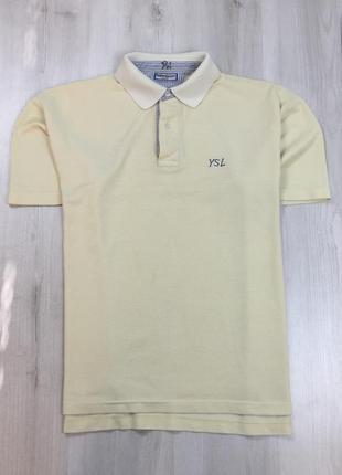 Z8 тенниска желтая ysl винтажная поло с воротником футболка