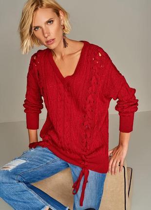Красный женский свитер milla с косичками , р. l идет на xl-xxl