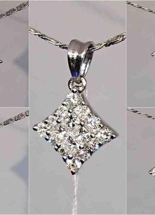 Бриллиантовый кулон подвеска ромб белое золото 750 бриллианты діамант