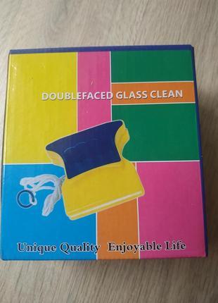 Магнитная щетка для мытья окон и стеклянных дверей с двух сторон gtm double