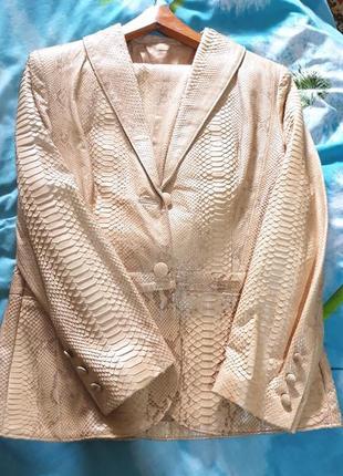 Костюм пиджак куртка юбка кожа кожаная питон