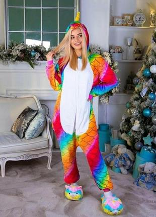 Пижама-кигуруми чешуйчатый 🦄 единорог. для детей и взрослых!
