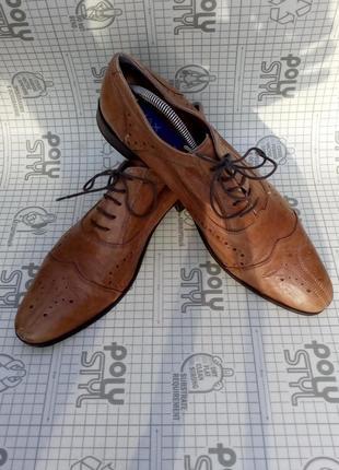 Туфли броги кожа светло коричневые maxjoy 44 размер