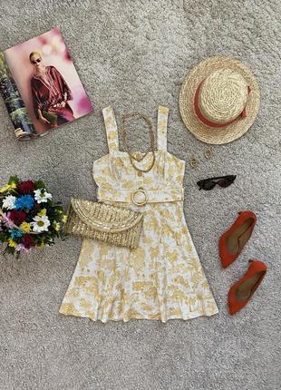 Нежное натуральное платье мини в принт №235