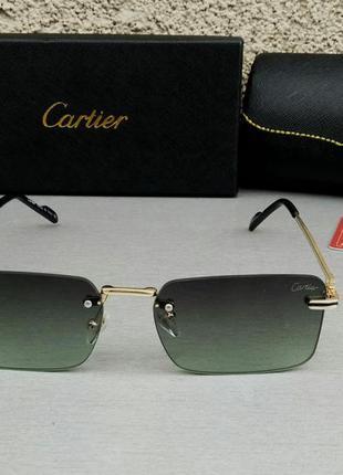 Cartier очки унисекс солнцезащитные узкие стильные черно зеленые с градиентом