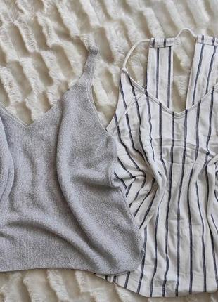 Комплект блуза майка на тонких бретелях в полоску с люрексом блестящая