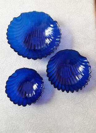 Набор салатниц 3шт. посуда из синего стекла времён ссср