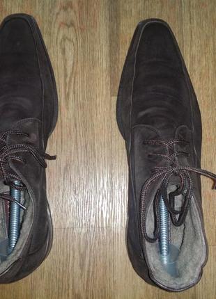 Тёмно- шоколадные   замшевые мужские сапоги ботинки  на шнурках doucal's- натур мех кожа