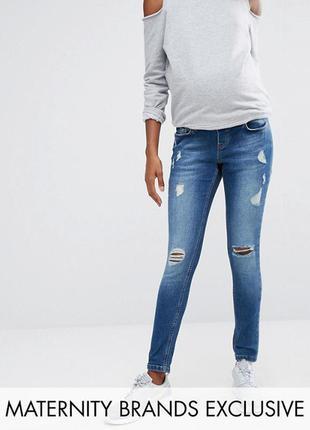Новые джинсы рваные для беременных синие asos размер m l